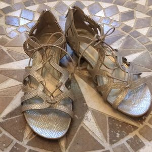 Reaction Pewter Gold Sandals